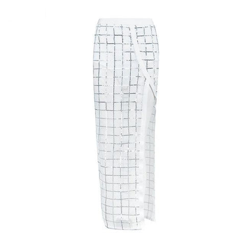 Image of Pilos - Stunning Long Plaid Mesh See Through Evening Skirt