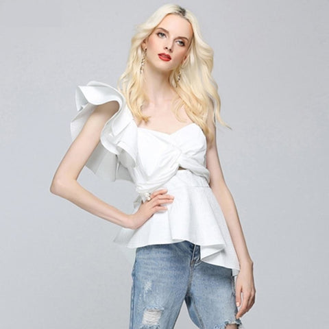 Image of Byzantium - Sexy White Women Shoulder Ruffles Strapless Top