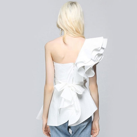 Byzantium - Sexy White Women Shoulder Ruffles Strapless Top