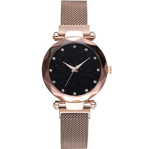Image of Sky At Night - Exquisite Starry Sky Magnetic Mesh Quartz Watch