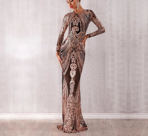 Obera - Sparkling Sequined Long Sleeve Mesh Runway Dress