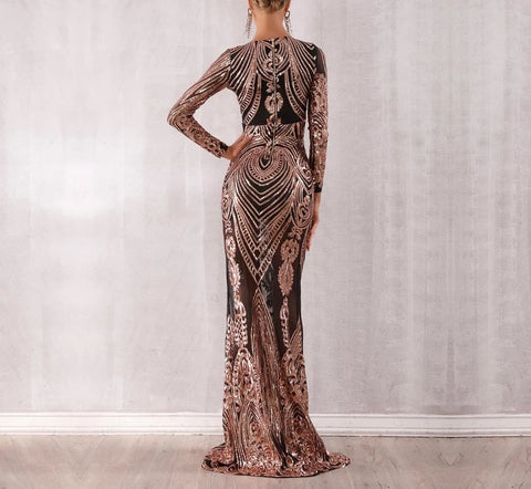 Image of Obera - Sparkling Sequined Long Sleeve Mesh Runway Dress
