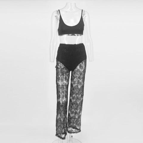 Viduka - Sexy Two Piece Set Short Top And Long Lace Pants