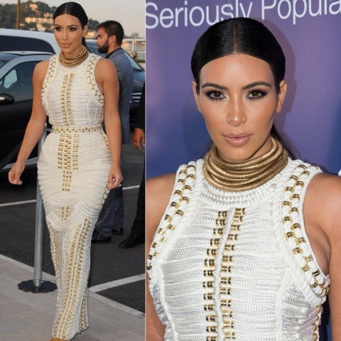 Paparazzi - Celebrity Chic Gold Studded Maxi Dress