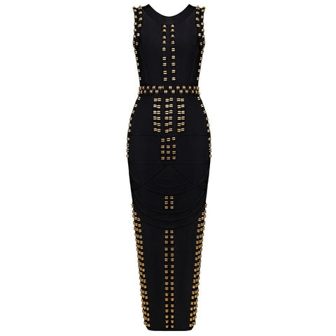 Image of Paparazzi - Celebrity Chic Gold Studded Maxi Dress