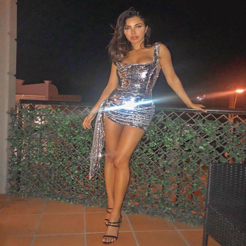 Diamond Lights - Stunning Glitzy Bling Sequined Mini Dress
