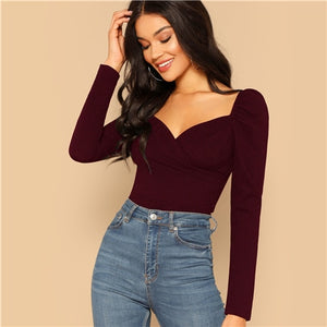 Zip Back Puff Sleeve Form Fitted Blouse