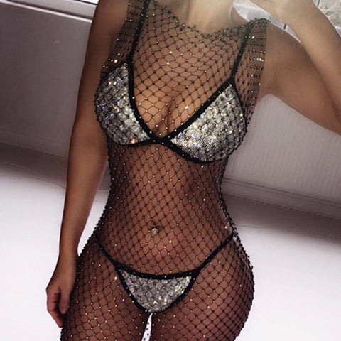 Diamond Vibes - Exquisite Sparkling Rhinestone Two Piece Bikini Set