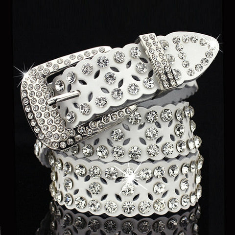 Rhinestone Cowskin Genuine leather belt