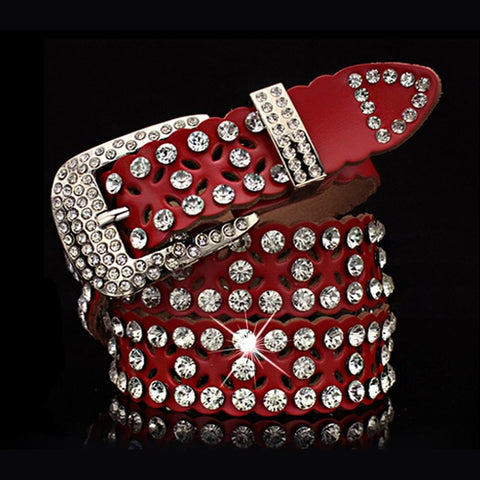 Image of Rhinestone Cowskin Genuine leather belt