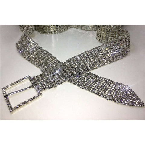 Bella Vista - Bling Gold/Silver Full Rhinestone Diamante Waist Belt