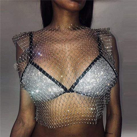 All Eyes On Me - Ultra Glam Glittering Diamonds Crop Top