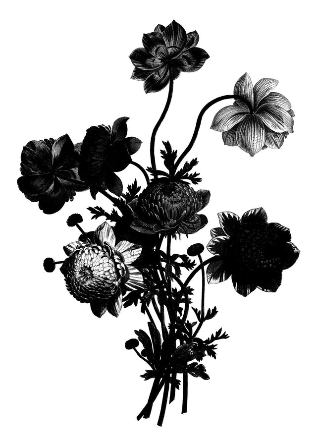 Black And White Vintage Bouquet 2 Canvas