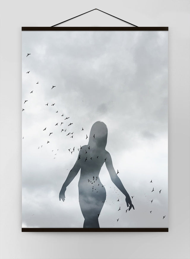 Girl With Birds Canvas