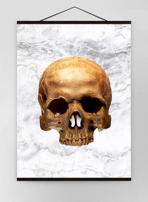 Gold Skull Marble White Canvas