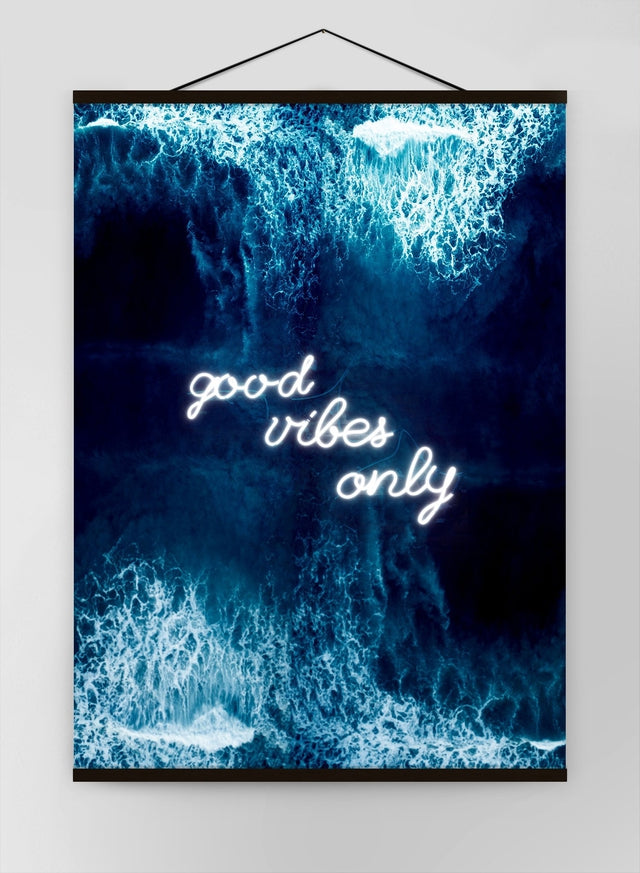 Good Vibes Only Ocean Neon Canvas