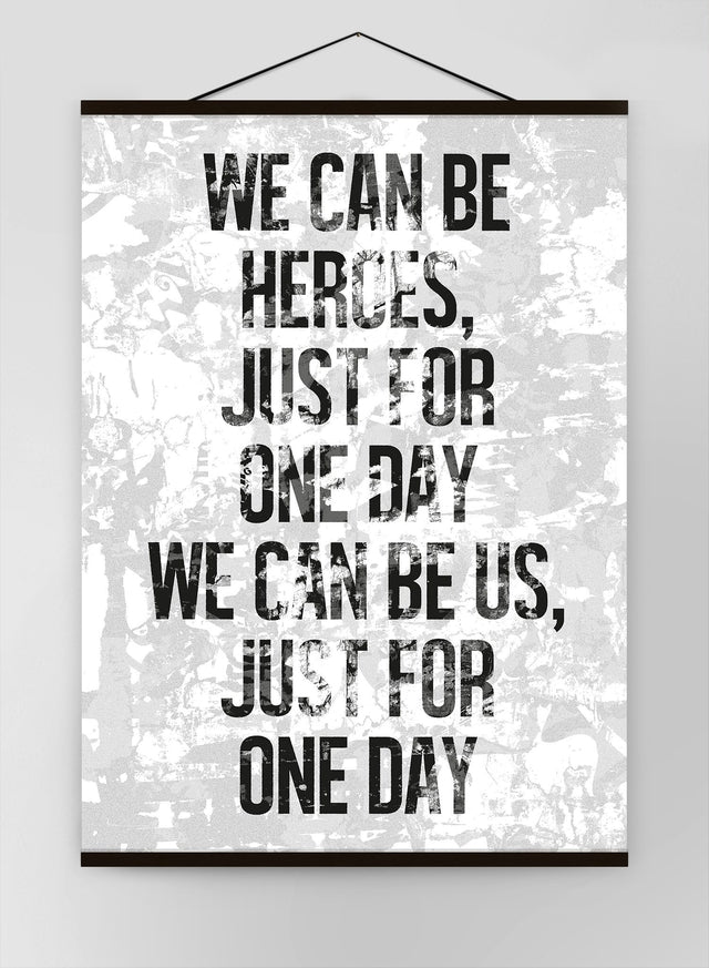 Heroes Lyrics White Grunge Canvas