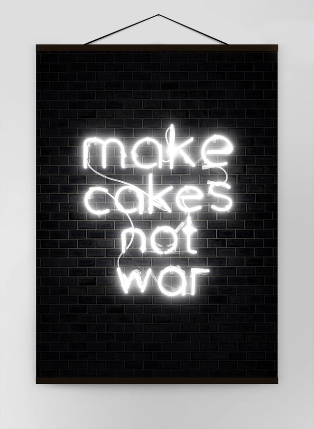 Make Cakes White Neon Canvas