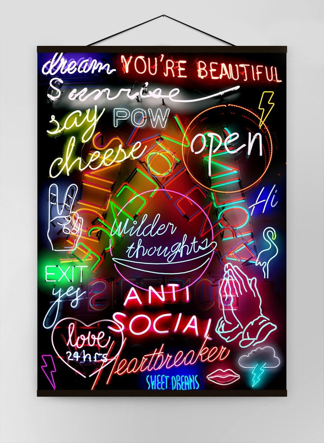 Neon Sign Mashup Canvas