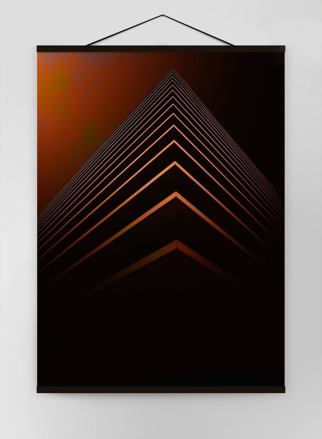 Orange Pyramid Geometric Canvas