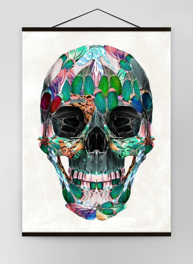White Wings Skull Canvas