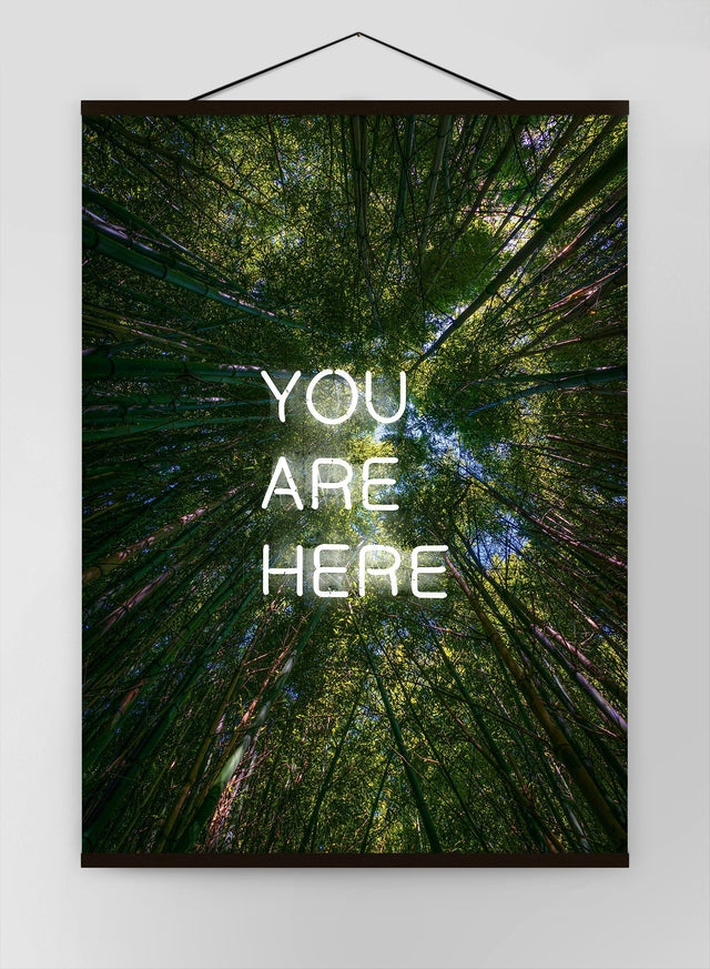 You Are Here Forest Neon Canvas