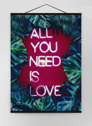 All You Need Is Love Neon Tropical Canvas