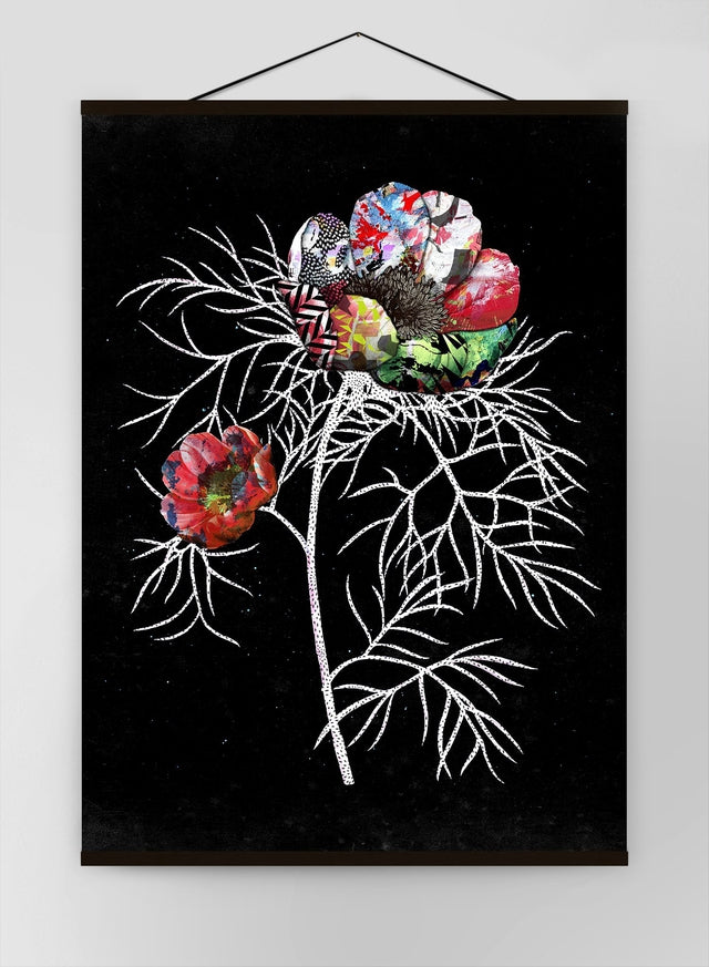Botanical 6 Black Rose Canvas
