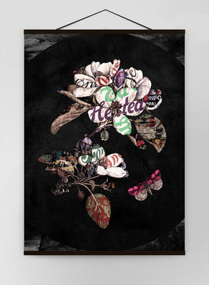 Botanical 7 Floral Black Typography Canvas