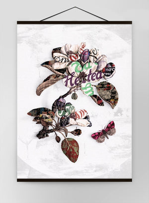 Botanical 7 Floral Typography Canvas