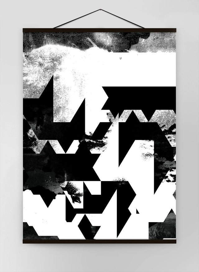 Geometric Abstract Black White Canvas