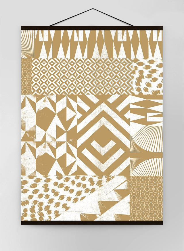 Geometric Segments Gold Canvas