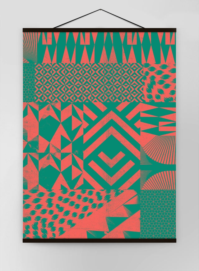 Geometric Segments Pink Green Canvas