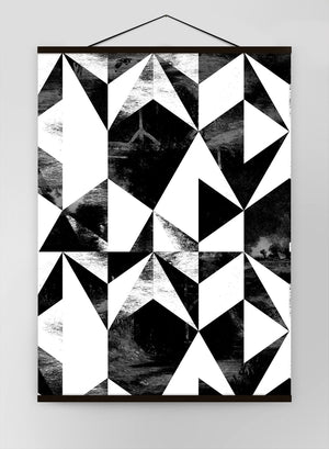 Geometric Triangles Black And White Canvas