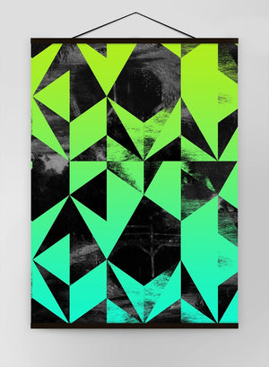 Geometric Triangles Green Canvas