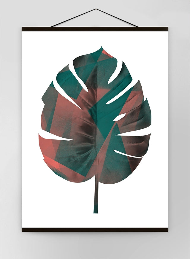 Oversized Tropical Leaf 1 White Canvas