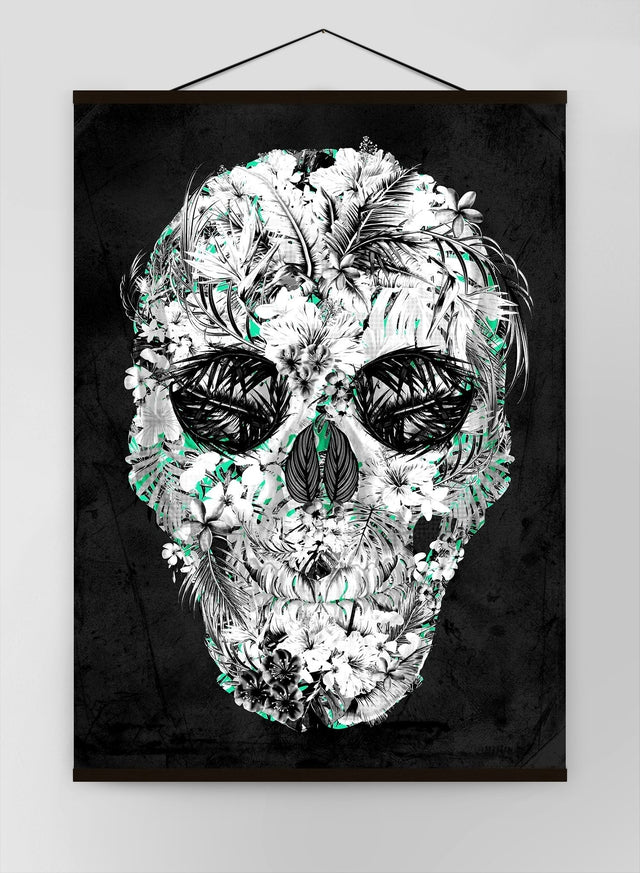 Tropical Skull Black And White Canvas