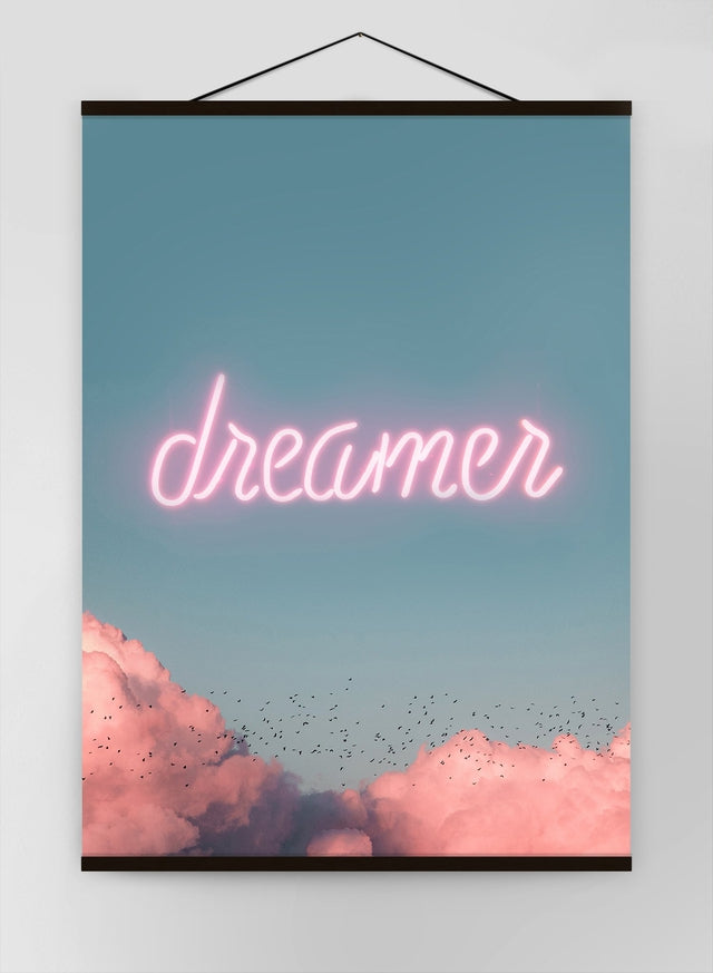 Dreamer Clouds Neon Canvas