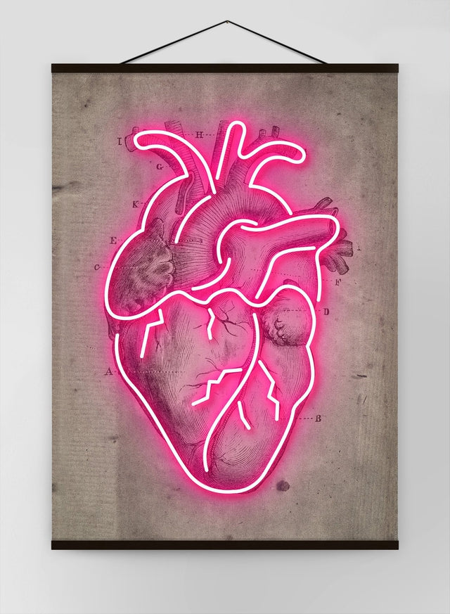 Neon Heart Vintage Diagram Canvas
