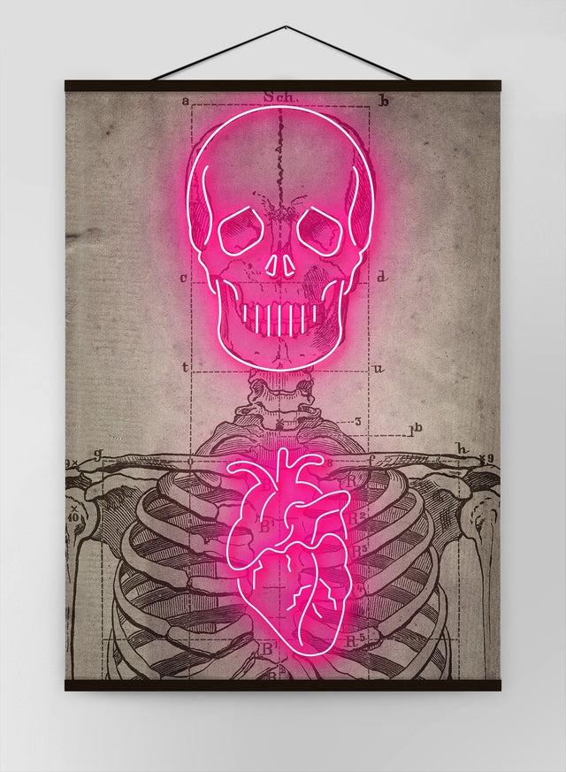 Neon Skeleton Vintage Diagram Canvas