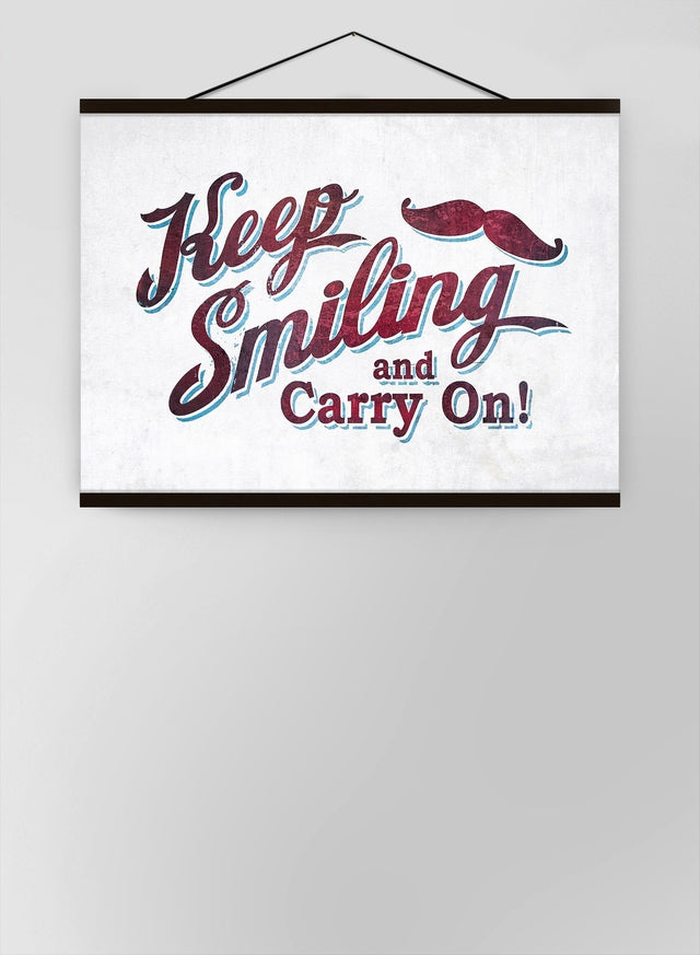 Keep Smiling Carry On Slogan Canvas