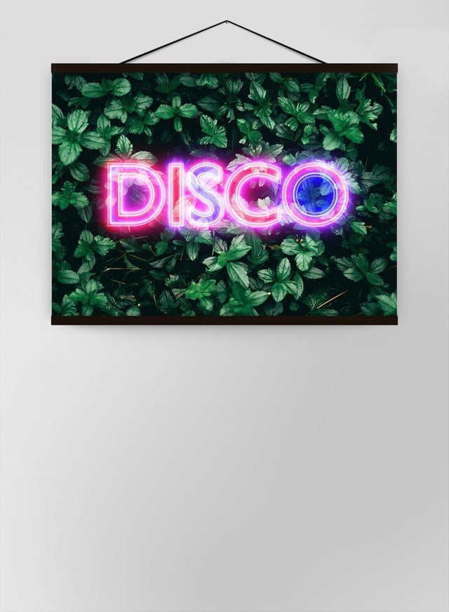 Disco Leaves Retro Sign Neon Canvas