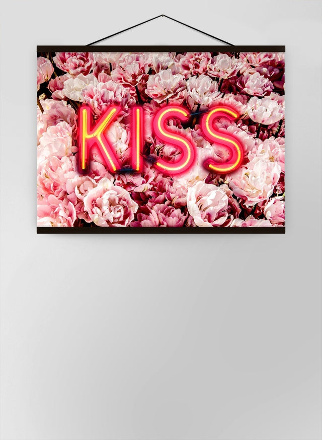 Kiss Neon Sign Roses Canvas