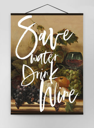 Save Water Drink Wine Quote Canvas