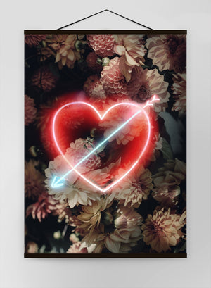 Flowers Heart Arrow Neon Canvas