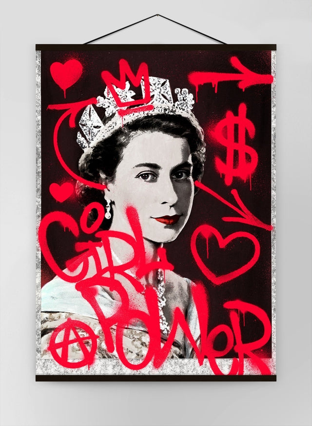 Girl Power Queen Elizabeth Spraypaint Canvas