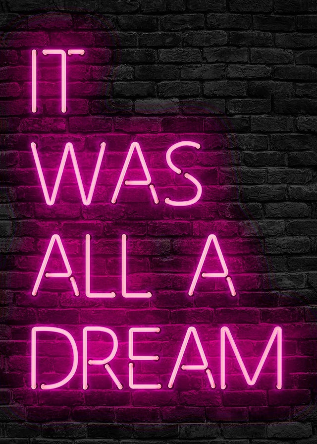 It Was All A Dream Neon Pink Canvas