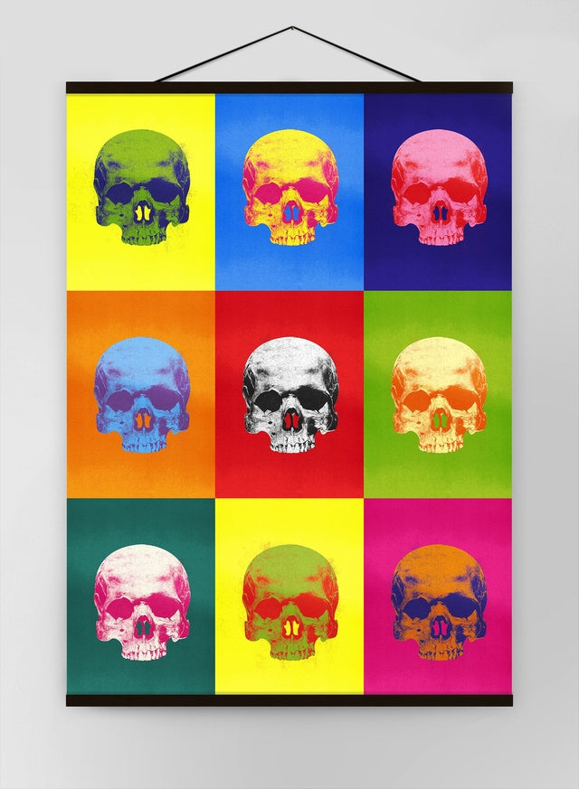 Popart Neon Coloured Skulls Canvas