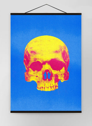 Pop Art Warhol Style Skull Blue & Yellow Canvas