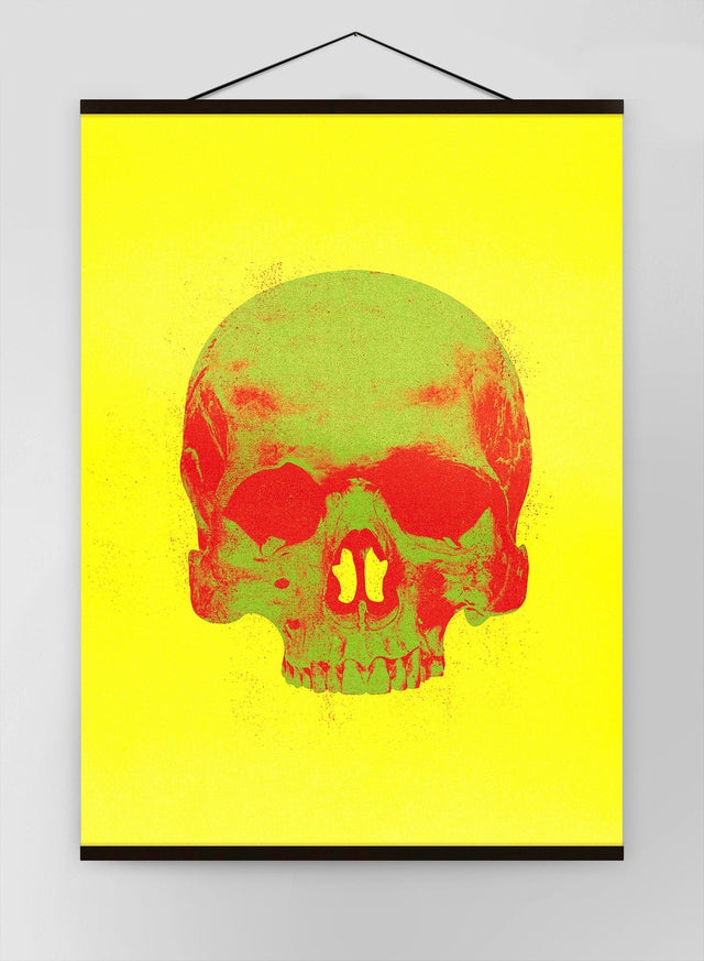Pop Art Warhol Style Skull Yellow & Green Canvas